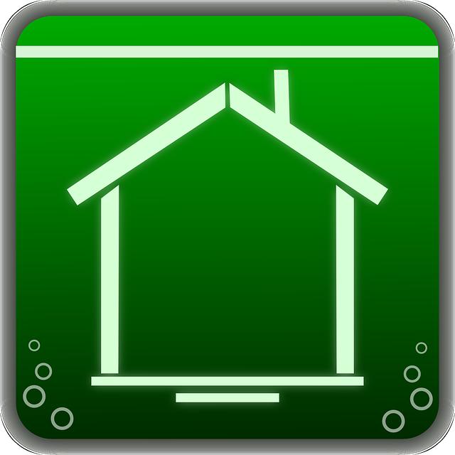 zelený čtvrerček, bílý nákres domu